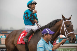 Victor Espinoza Celebrates Aboard Finnegans Wake After Winning San Marcos