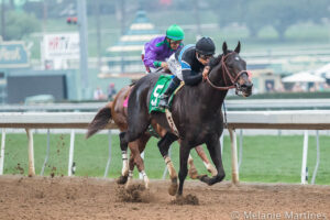 Shared Belief runs by Horse of the Year California Chrome