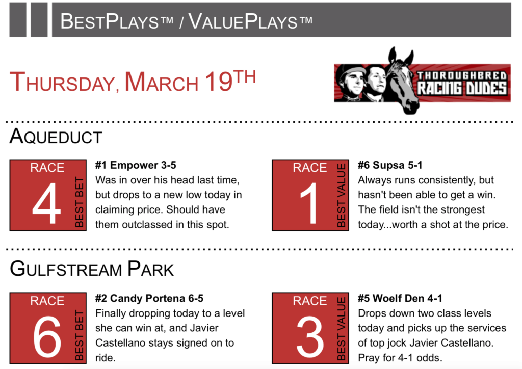 Racing Dudes Weekend Preview   Free Past Performances   Horse Racing