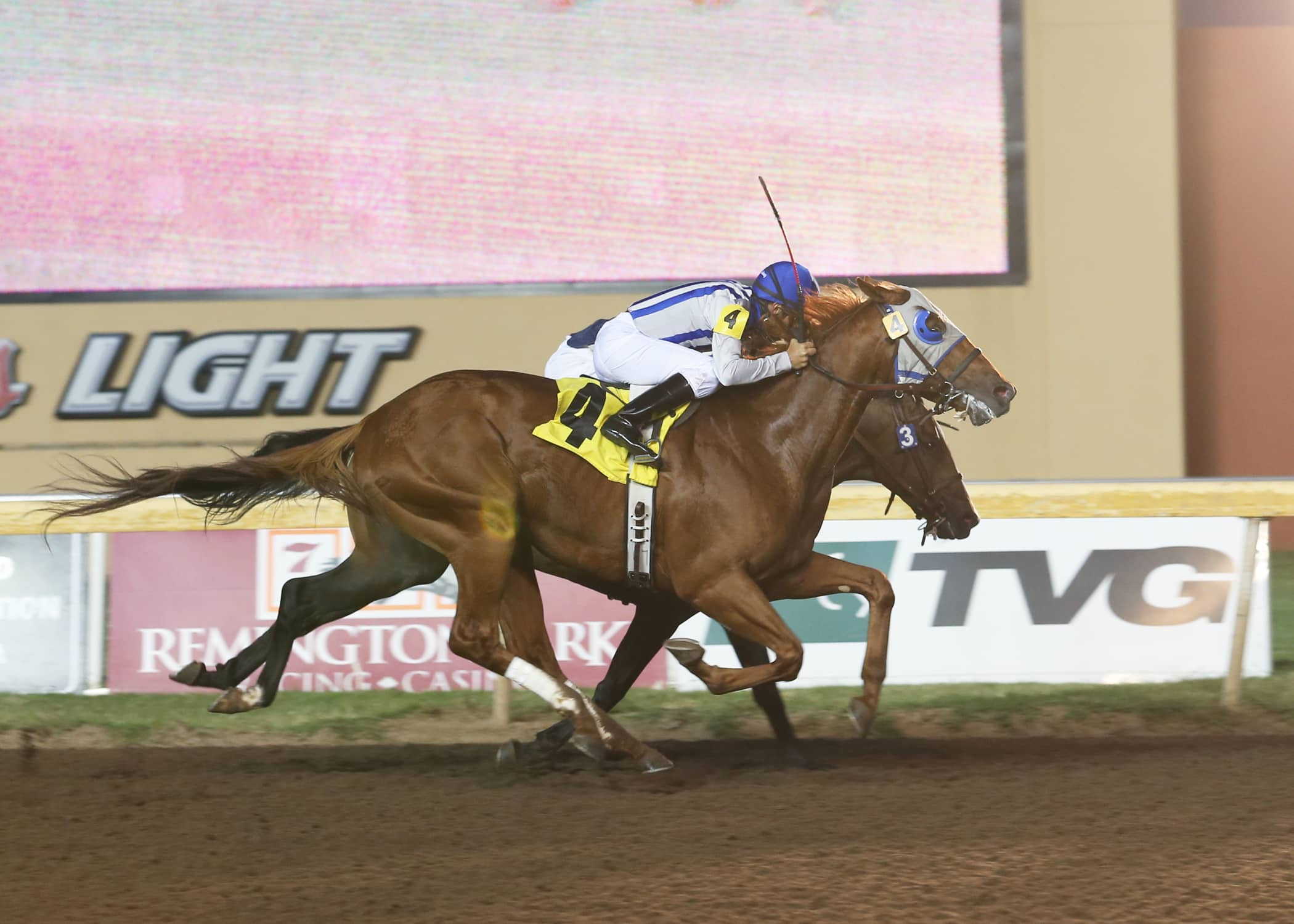 Poseidon's Way (4), under Luis Quinonez, edges Hillbilly Royalty (3) by a head in a Remington Park allowance race on Aug. 22 - Photo credit: Dustin Orona Photography