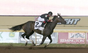 Shotgun Kowboy, ridden by Cliff Berry, made history Friday night by becoming the first Oklahoma Derby winner to ever run in the Chickasaw Nation Oklahoma Classics Cup, powered by TVG at Remington Park - Photo credit: Dustin Orona Photography
