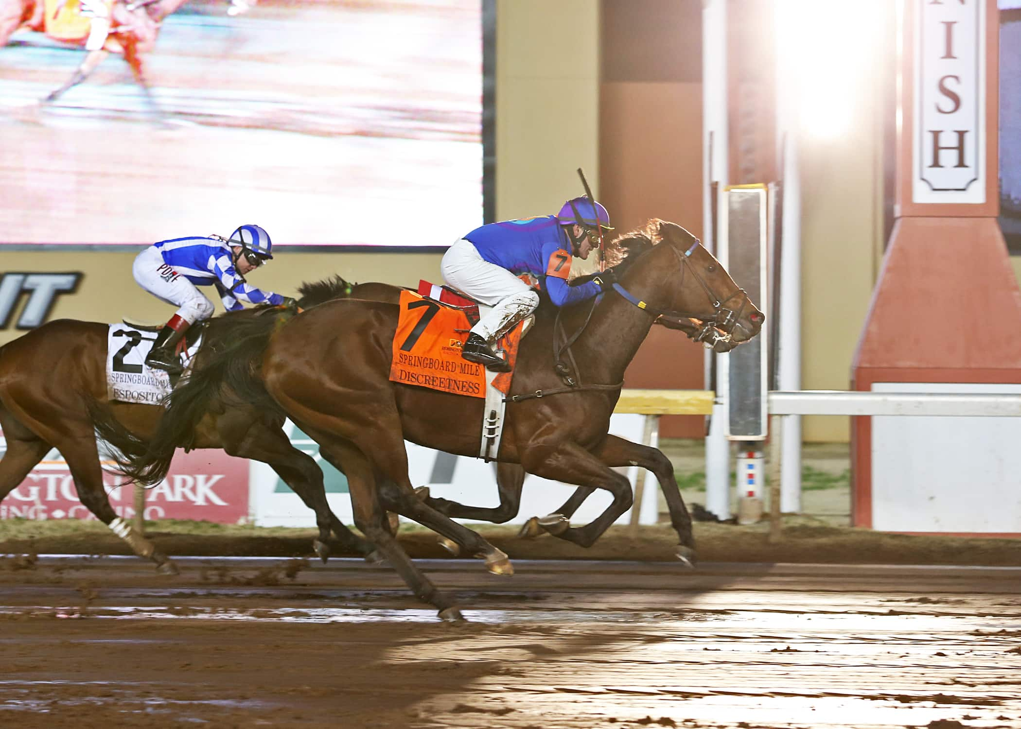 Discreetness rolled from the back to win the 2015 $250,000 Springboard Mile, Remington Park's top 2-year-old race of the season - Photo Credit: Dustin Orona Photography