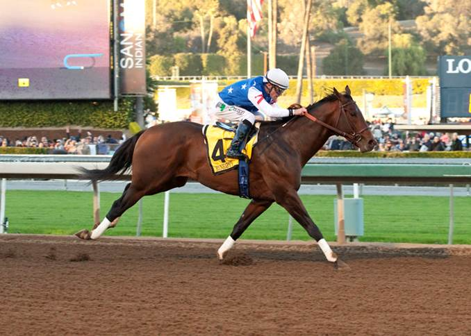 Runhappy, with Gary Stevens aboard for the first time, cruised to a 3 ½ length win in Saturday's Grade I, $300,000 Malibu Stakes- Photo Credit: ©Benoit Photo