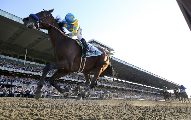 Victor Espinoza, aboard American Pharoah, looks back after crossing the finish line to win the Belmont Stakes in Elmont, New York.  American Pharoah becomes the 12th Triple Crown winner. June 6, 2015