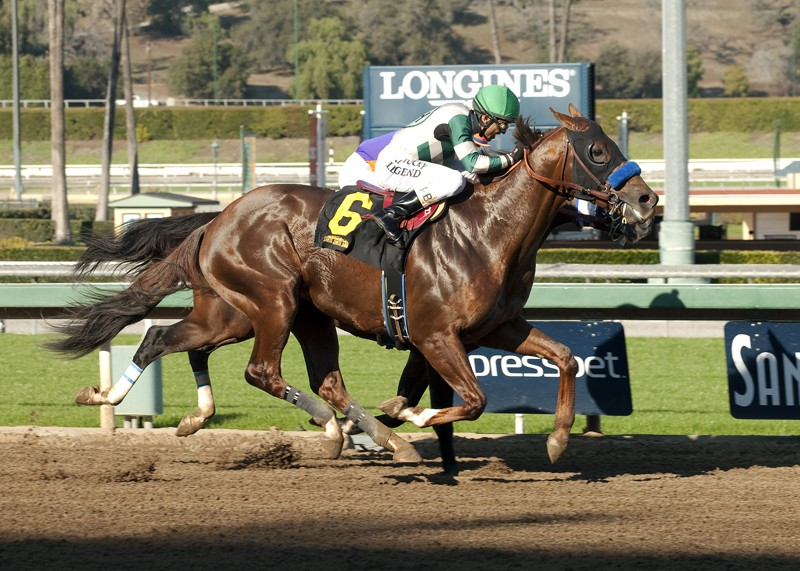 Ridden by Rafael Bejarano, Cat Burglar blows by favored stablemate Midnight Hawk to win Friday's allowance feature - Photo Credit: Benoit Photo