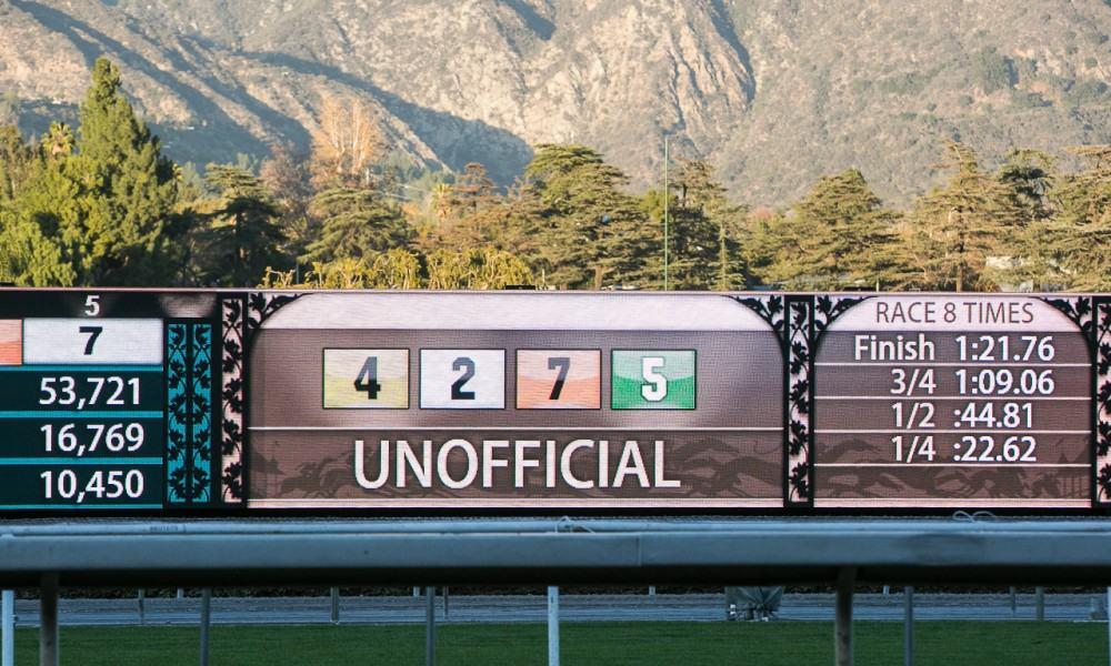 Santa Anita Tote Board - Photo Credit: Melanie Martines