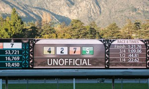 Santa Anita Tote Board - Photo Credit: Melanie Martines