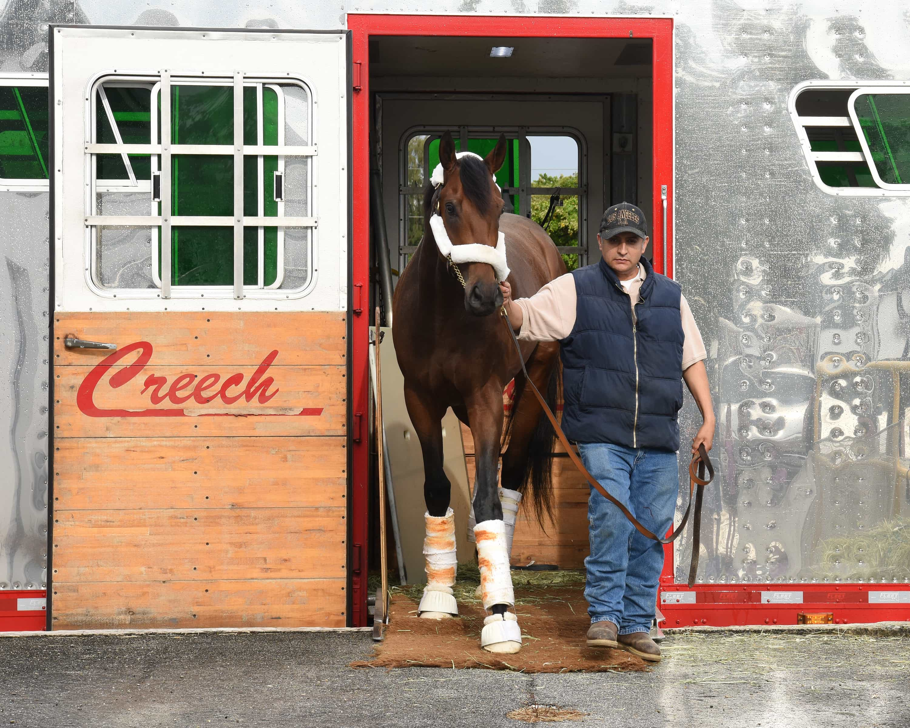 Nyquist arrives at Gulfstream Park for Florida Derby - Photo Credit: Leslie Martin