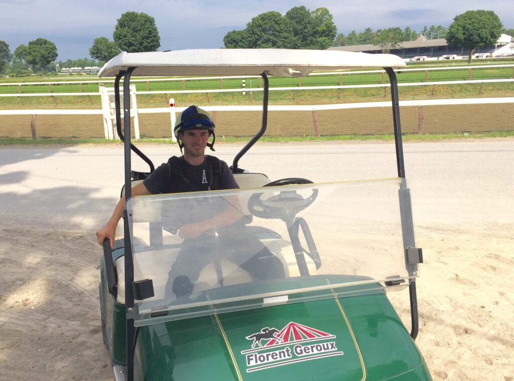 Florent Geroux's arrived at Saratoga on July 18 and has a nice new golf cart to get him around (Photo: Michael Spector)