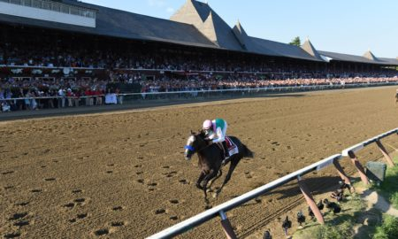 Arrogate wins G1 Travers at Saratoga - Credit Jamie Coulter/NYRA
