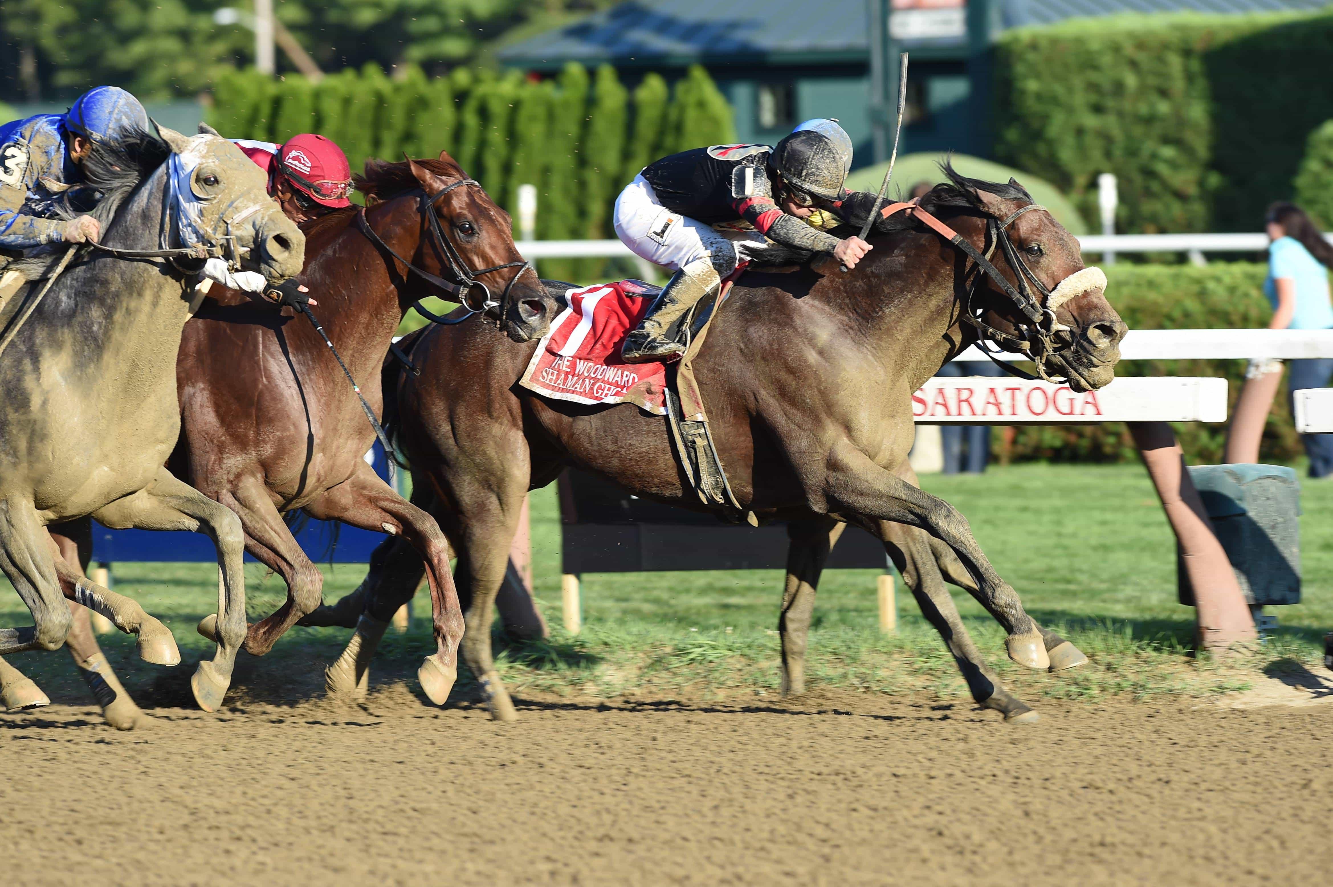 Shaman Ghost (center) wins G1 Woodward - NYRA