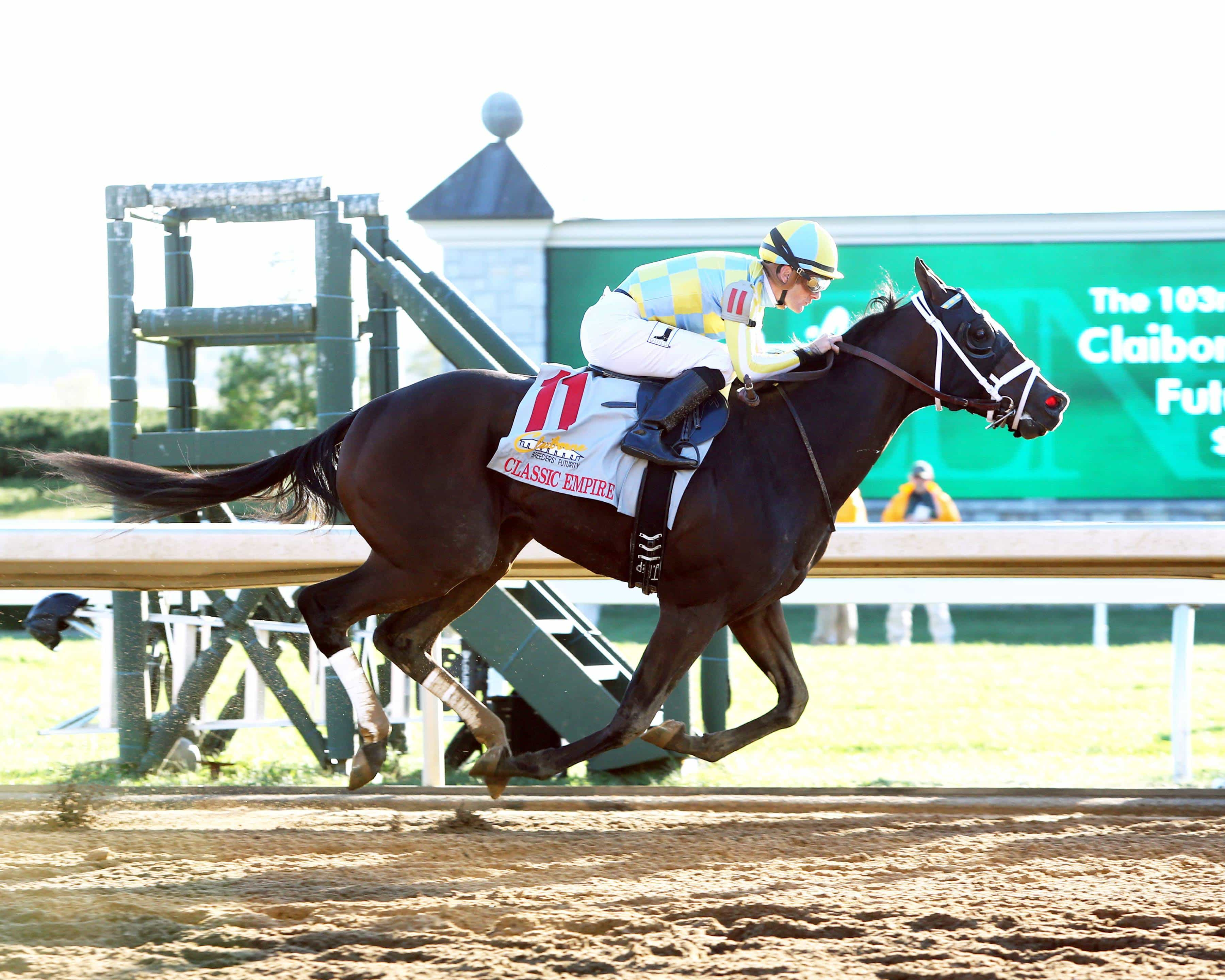 CLASSIC EMPIRE The Claiborne Breeders' Futurity Gr I - 103rd Running Keeneland Race Course Lexington, Kentucky October 8, 2016 Race #08 Purse $500,000 1-1/16 Miles 1:43.41 John Oxley, Owner Mark Casse, Trainer Julien Leparoux, Jockey Looking at Lee (2nd) Wild Shot (3rd) $5.20 $4.20 $3.40 Order of Finish - 10, 2, 8, 5 Please Give Photo Credit To: / Coady Photography