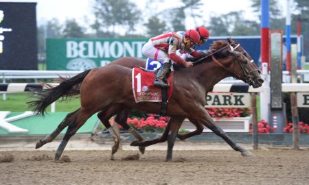 Practical Joke noses Syndergaard to win G1 Champagne - Credit: Susie Raisher/NYRA