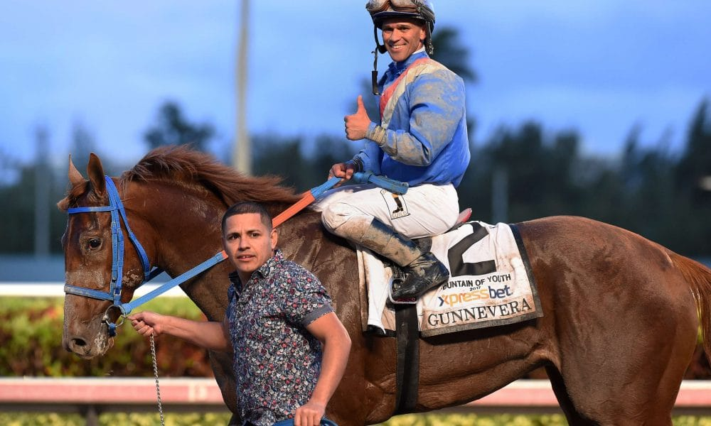 Gunnevera wins the Fountain of Youth Javier Castellano up - credit Lauren King/Coglianese Photo