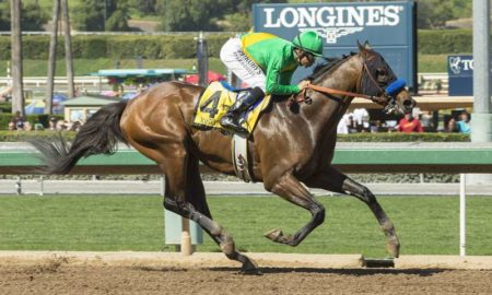 Cheyenne Stable's Mastery and jockey Mike Smith win the Grade II $400,000 San Felipe Stakes Saturday, March 11, 2017 at Santa Anita Park, Arcadia, CA.© BENOIT PHOTO