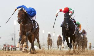 Thunder Snow (USA) (Saeed bin Suroor -Christophe Soumillon) wins the UAE Derby (credit Andrew Watkins and Dubai Racing Club)