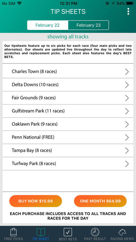 Horse Racing Tip Sheet App